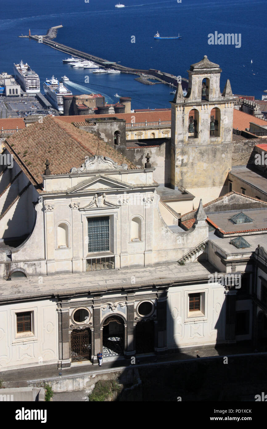 Stunning view of the Certosa di San Martino monastery complex from the Castel Sant'Elmo in Napoli, Italy Stock Photo