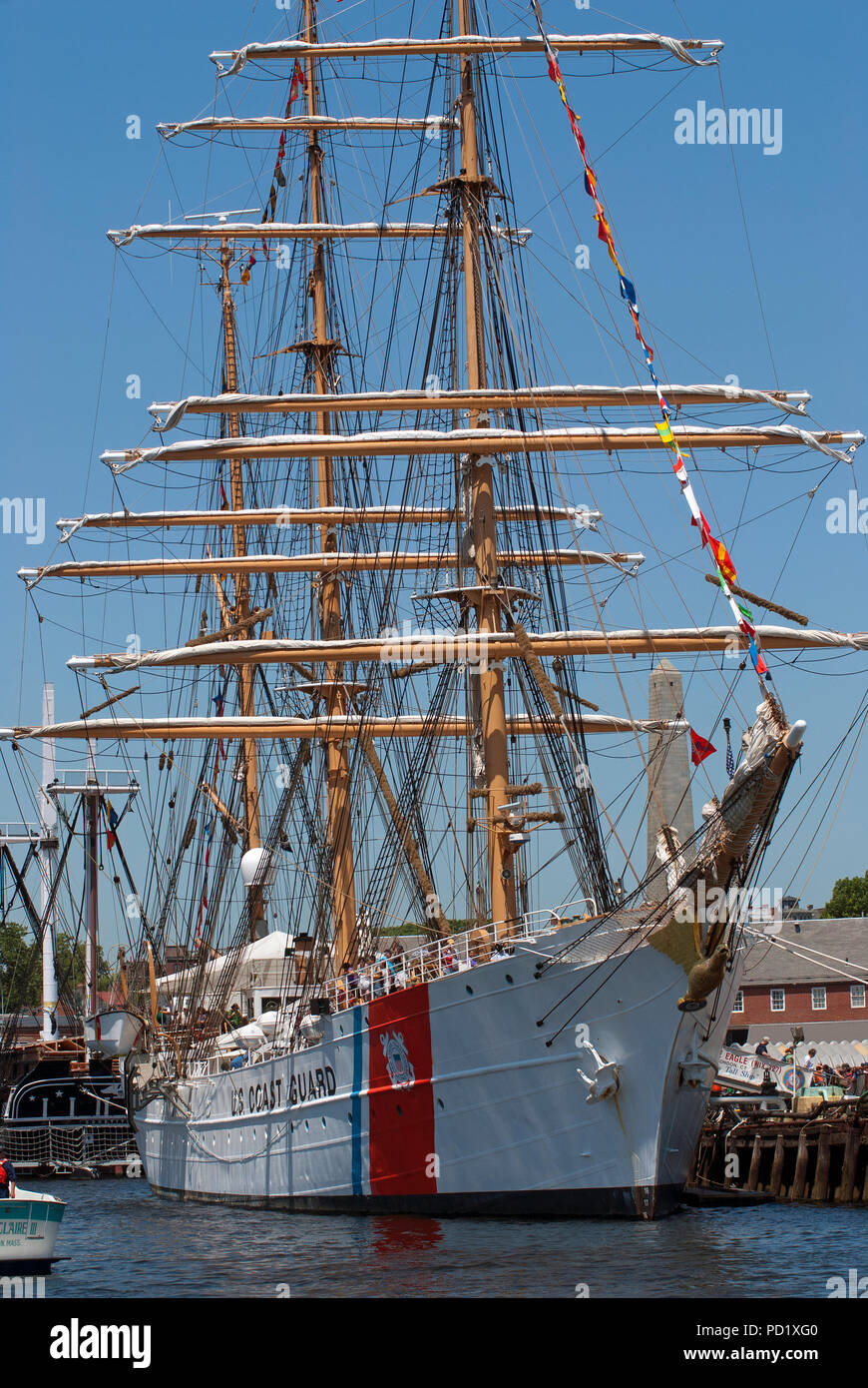 U.S. Coast Guard sailing ship, Sail Boston Tall Ship Festival, Boston Harbor, Suffolk County, Massachusetts, USA - Stock Image