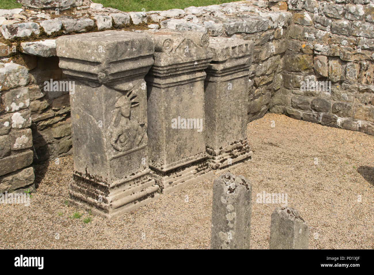Mithras Temple, Carrawburgh, near Brocolita Roman Fort, Hadrian's Wall - Stock Image