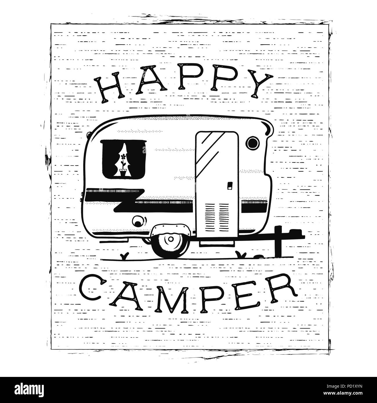 Happy Camper Trailer In Sketch Silhouette Style Vintage Hand Drawn Camp Rv