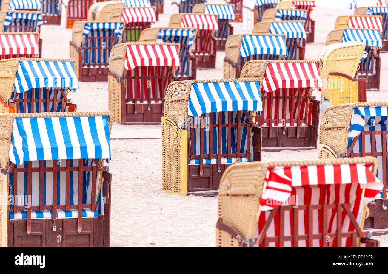 Strandkörbe in Travemünde, Deutschland - Stock Image