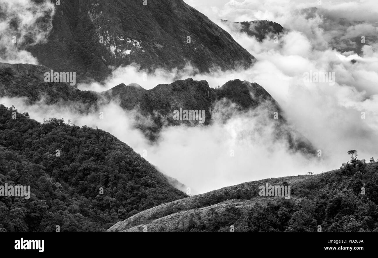 Famous and picturesque Heavens gate mountain landscape at Sapa area in Vietnam Asia - Stock Image