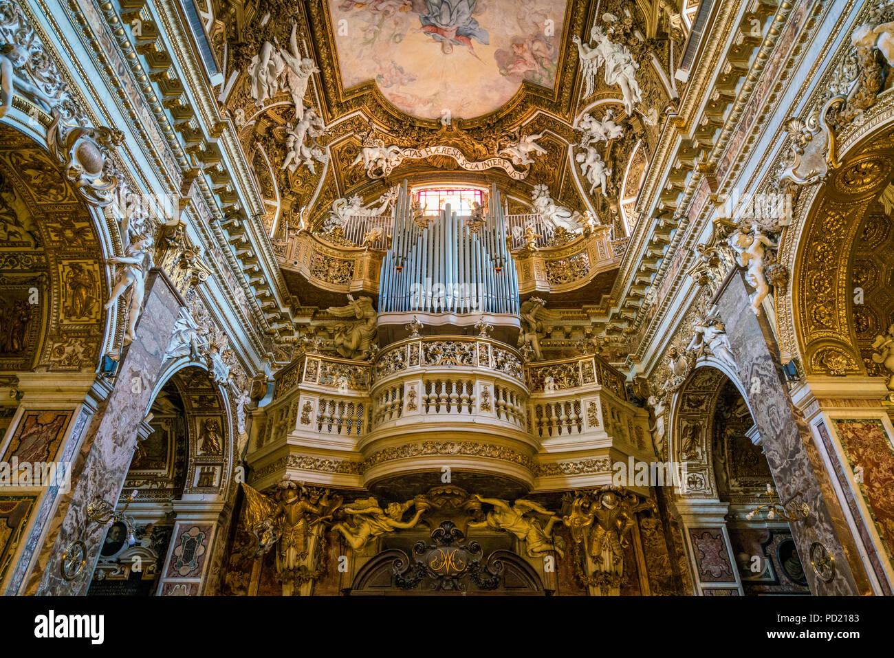 The Organ In The Church Of Santa Maria Della Vittoria In Rome Italy