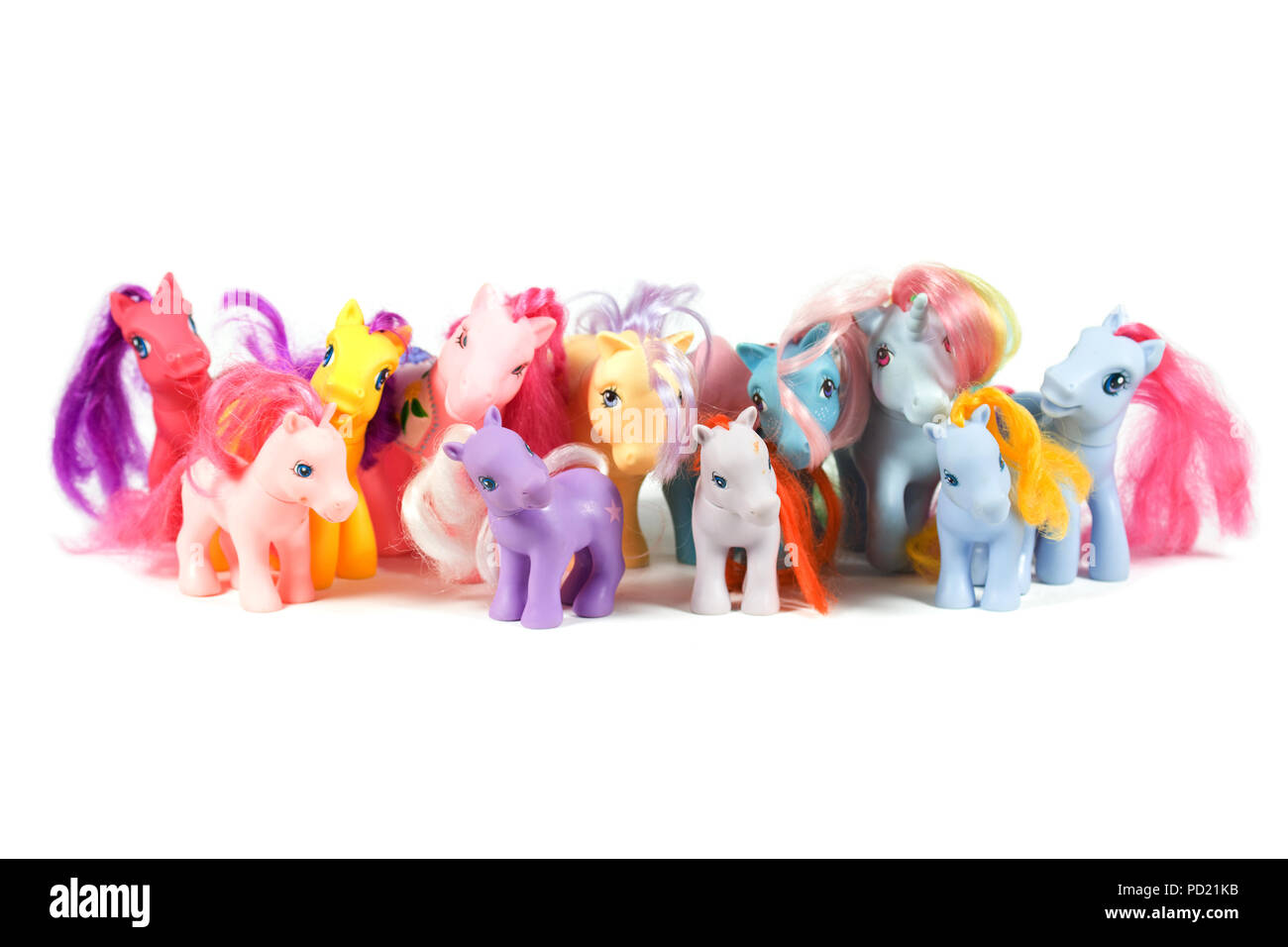 portait of my little ponies toys on white background - Stock Image