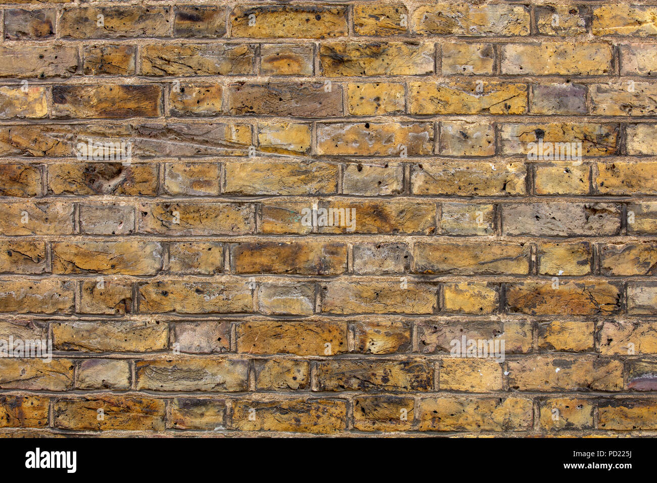 Old yellow London brick wall in Flemish Bond, Hampstead London - Stock Image