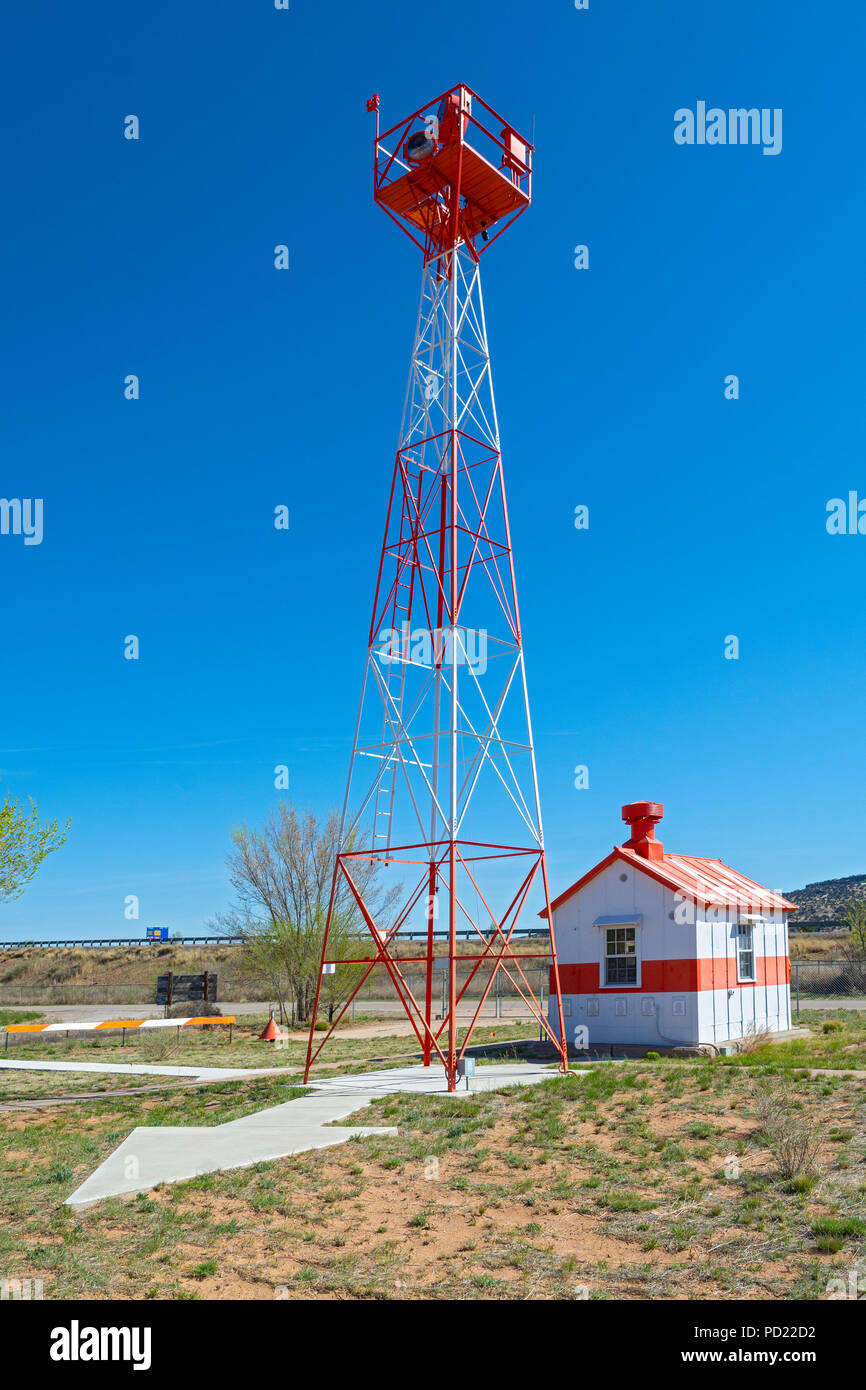 New Mexico, Grants - Milan Airport, Western New Mexico Aviation Heritage Museum, a re-created airway light beacon site circa 1929 - Stock Image