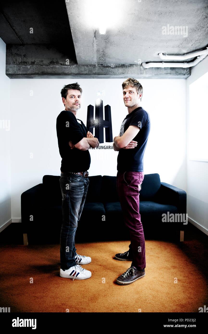 Bart Verbeelen and Nico Van De Velde, founders of the Hotel Hungaria production company (Belgium, 11/06/2013) - Stock Image