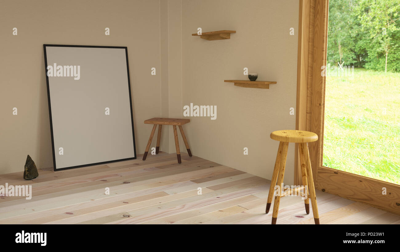 3d illustration interior. Mockup a poster 70 x 100 cm inside building. Room with wooden floor and window overlooking the nature. - Stock Image