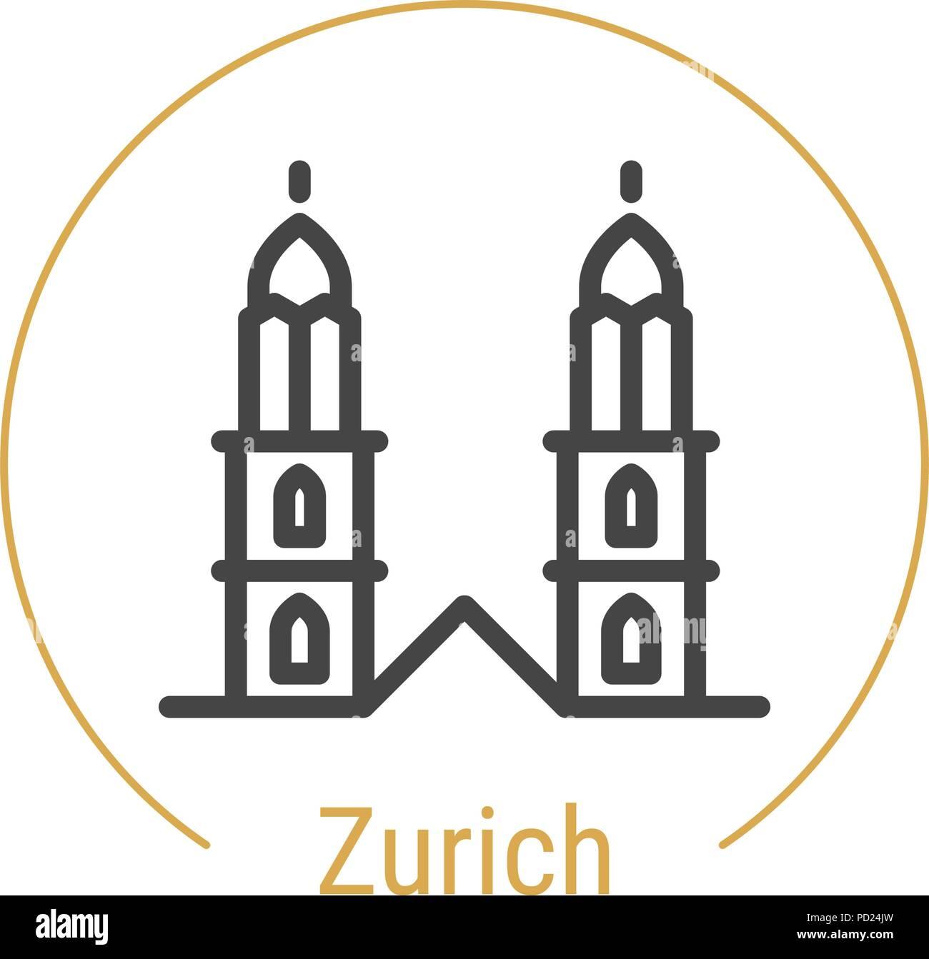 Zurich, Switzerland Vector Line Icon - Stock Vector
