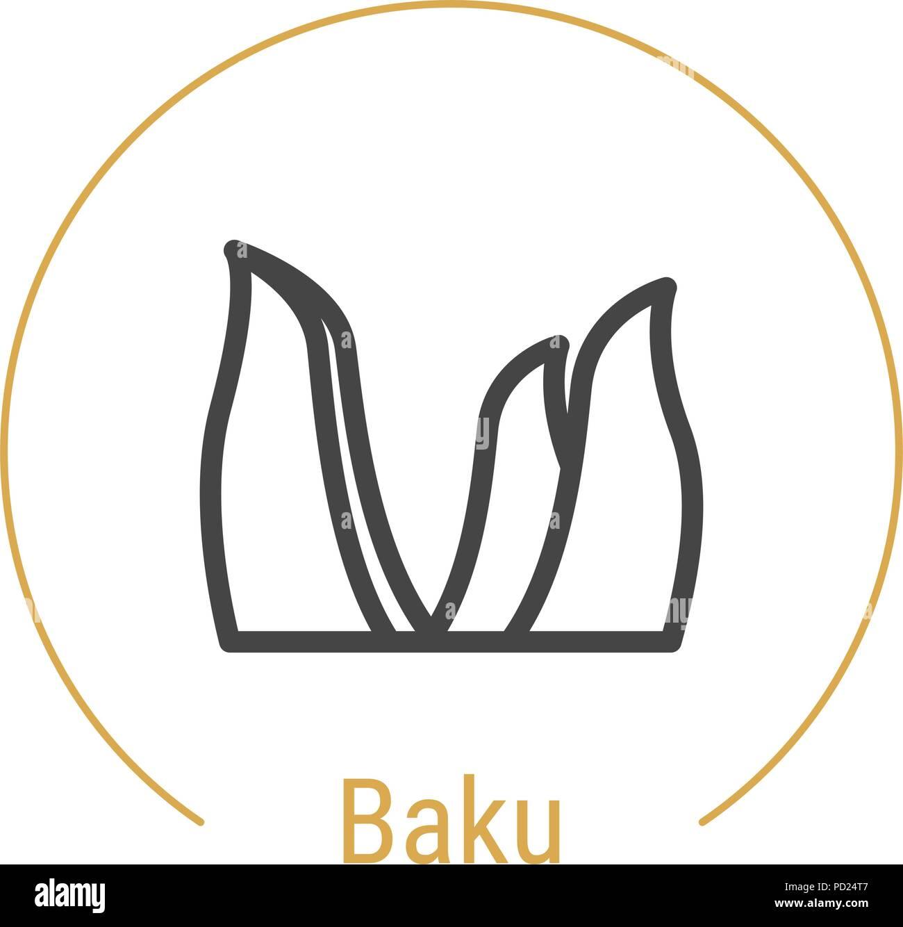 Baku, Azerbaijan Vector Line Icon - Stock Vector