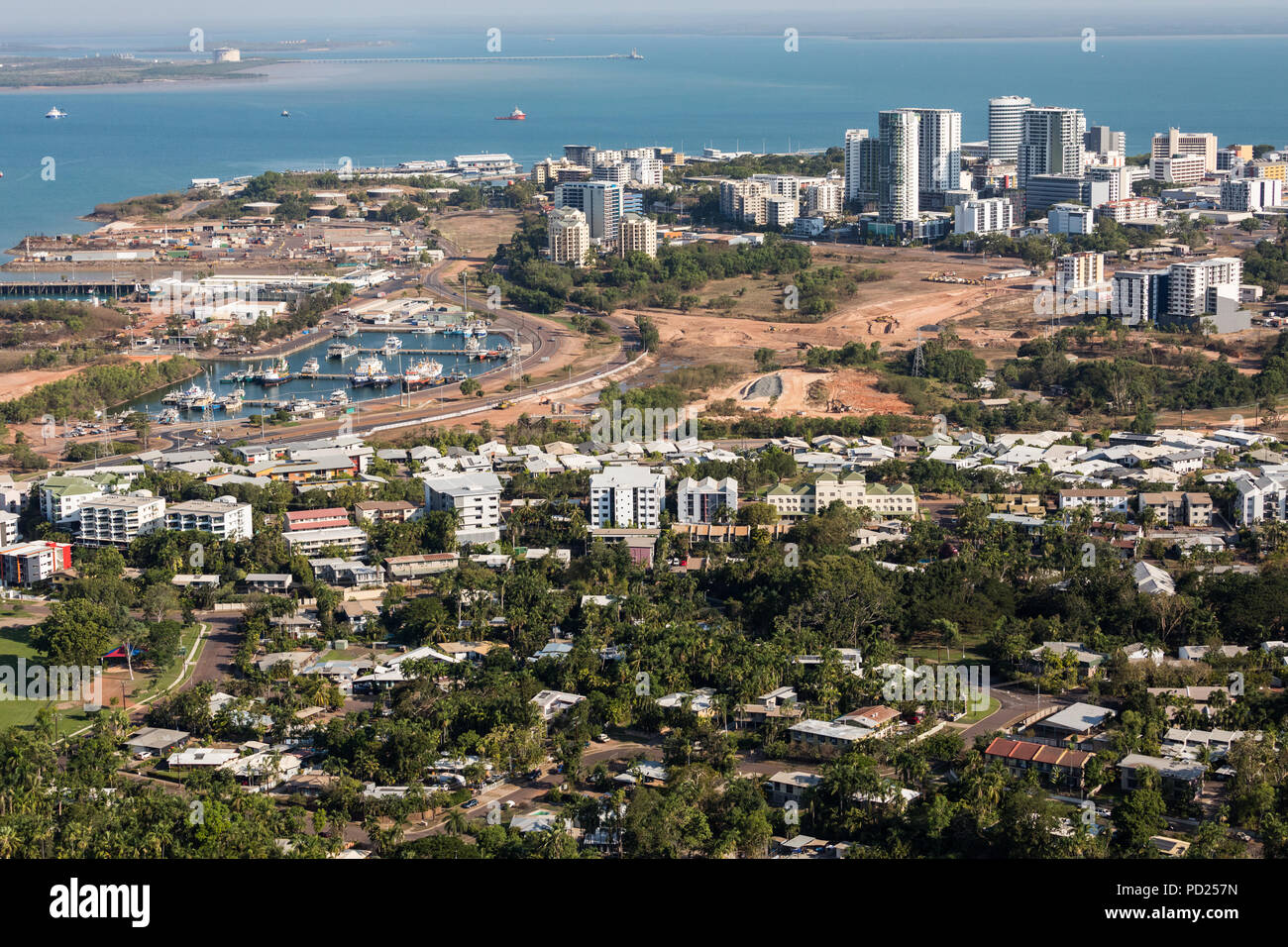 An aerial photo of Darwin, the capital city of the Northern Territory of Australia showing the central business district and nearby suburbs of Stuart  - Stock Image
