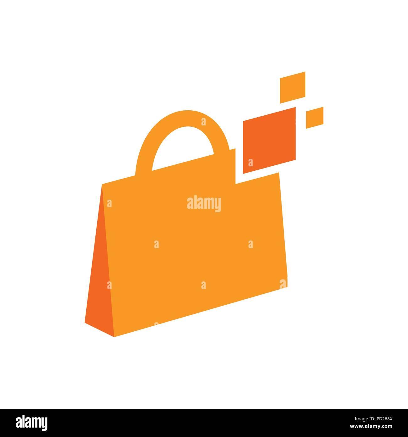 Digital Bag Technology Vector Symbol Graphic Logo Design Template - Stock Vector