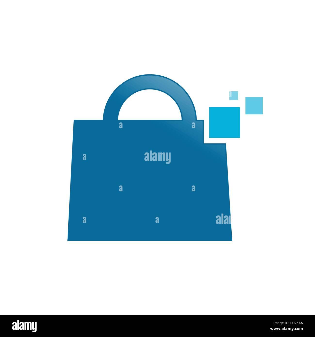 Digital Shopping Bag Vector Symbol Graphic Logo Design Template - Stock Vector