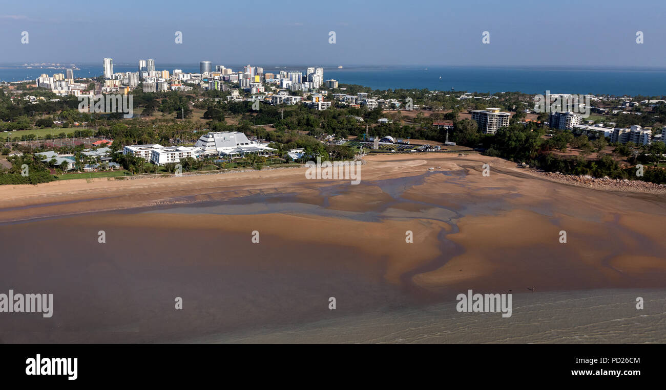 An aerial photo of Darwin, the capital city of the Northern Territory of Australia from Mindil Beach showing casino - Stock Image