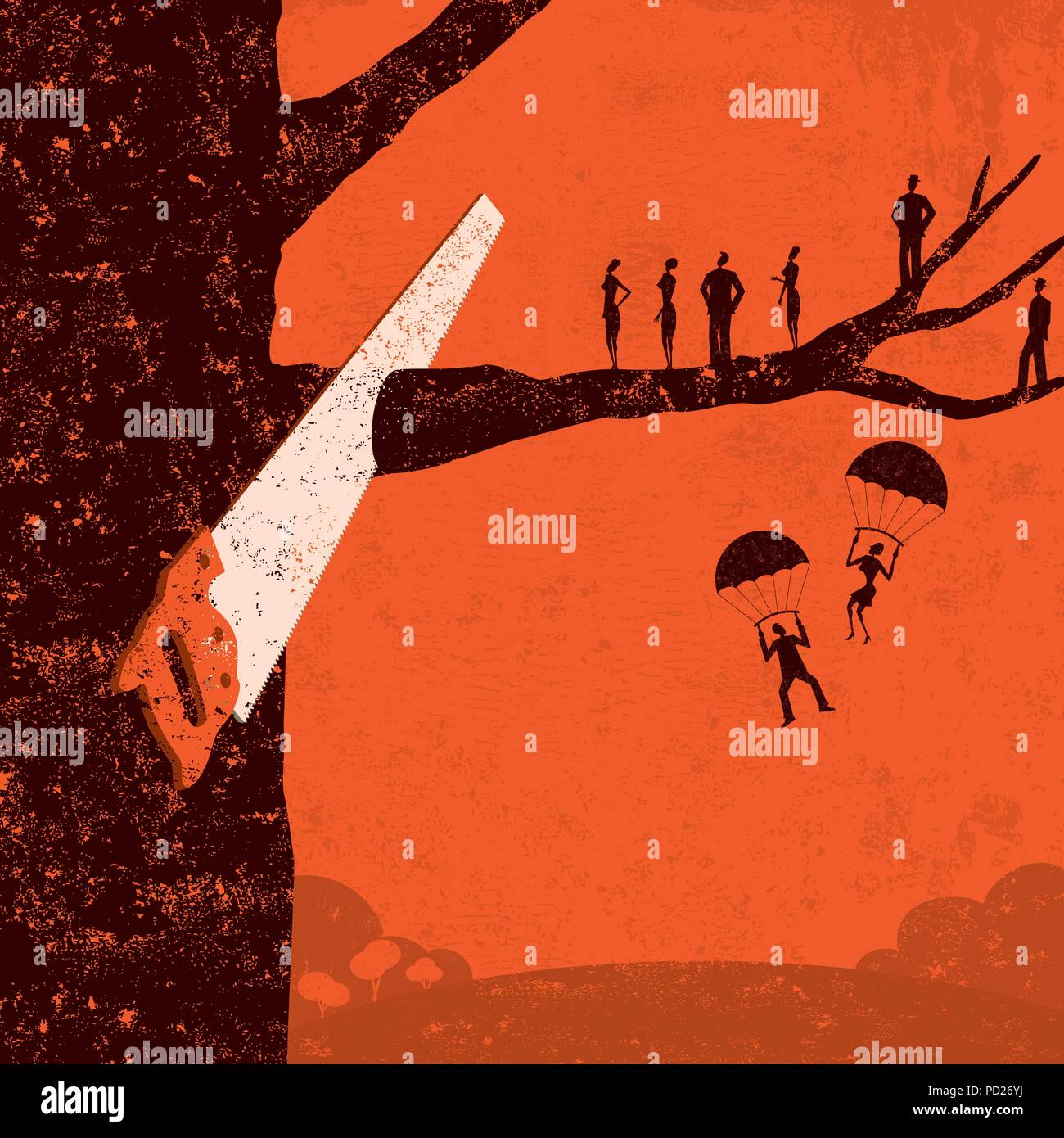 Corporate Downsizing Business people watch as their branch is cut from the tree. - Stock Vector