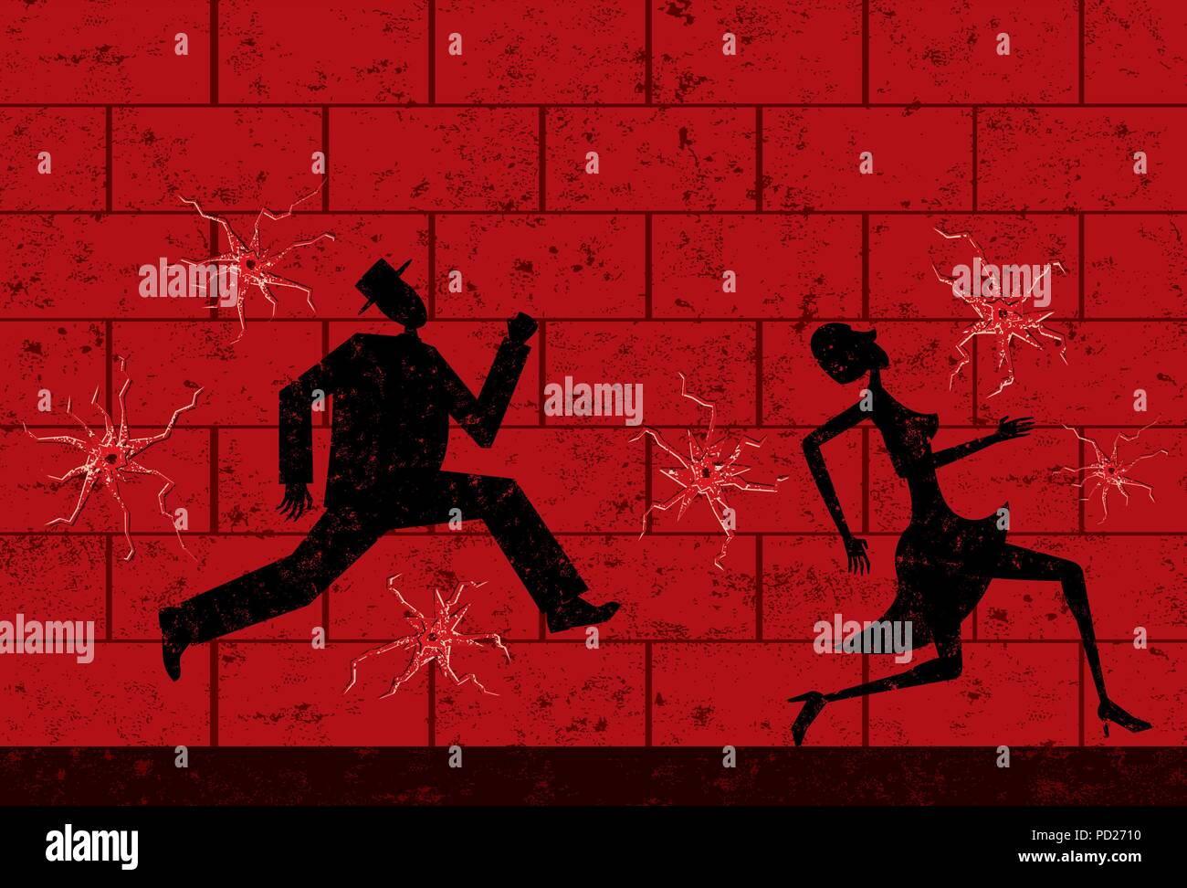 Dodging Bullets A man and woman running and dodging bullets. - Stock Image