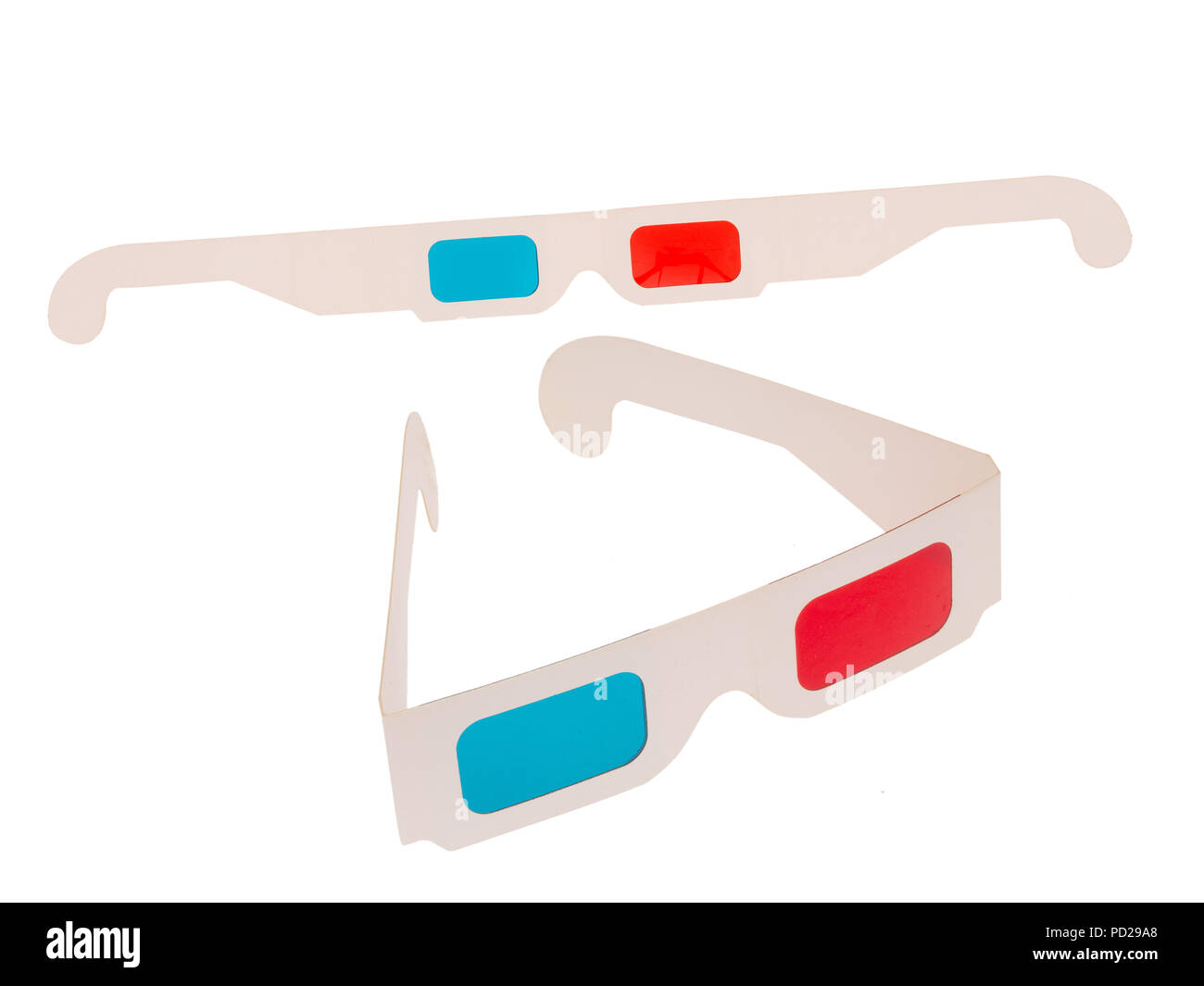 Photo of red and cyan cardboard 3D glasses isolated on white. Two pairs. Folded and flat. - Stock Image
