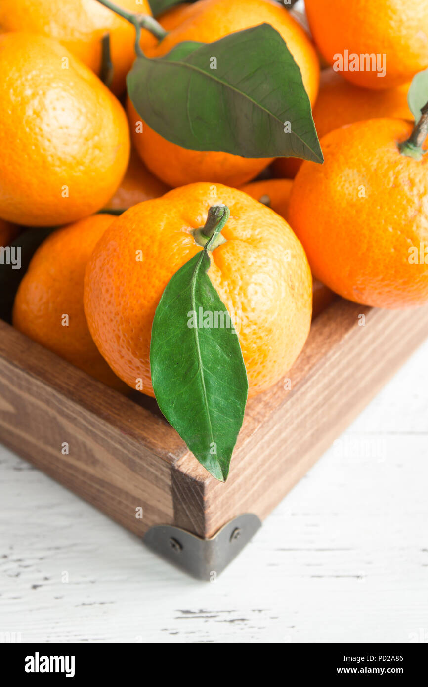 Tangerines (oranges, clementines, citrus fruits) with green leaves over white wooden background with copy space Stock Photo