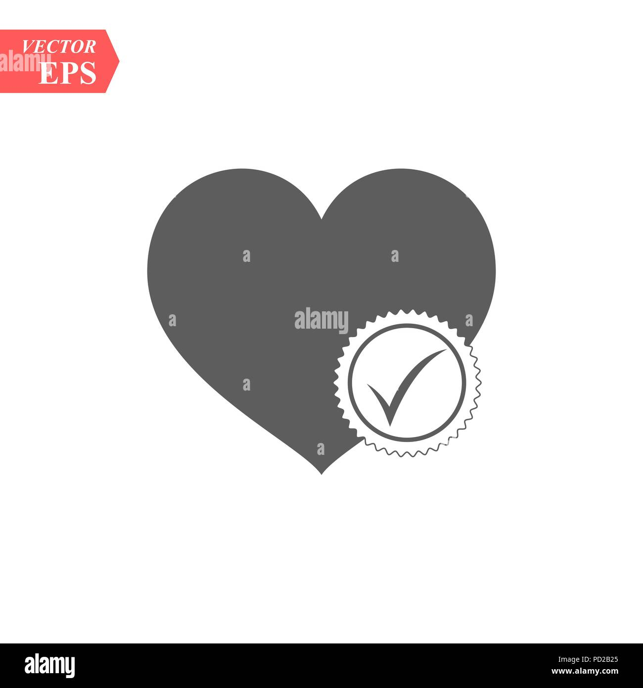 Heart Sign Web Icon With Check Mark Symbol Vector Illustration