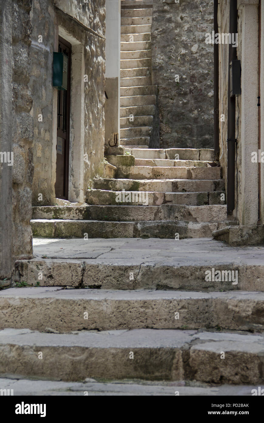 Scenes With Stairs In Mediterranean City Stock Photo