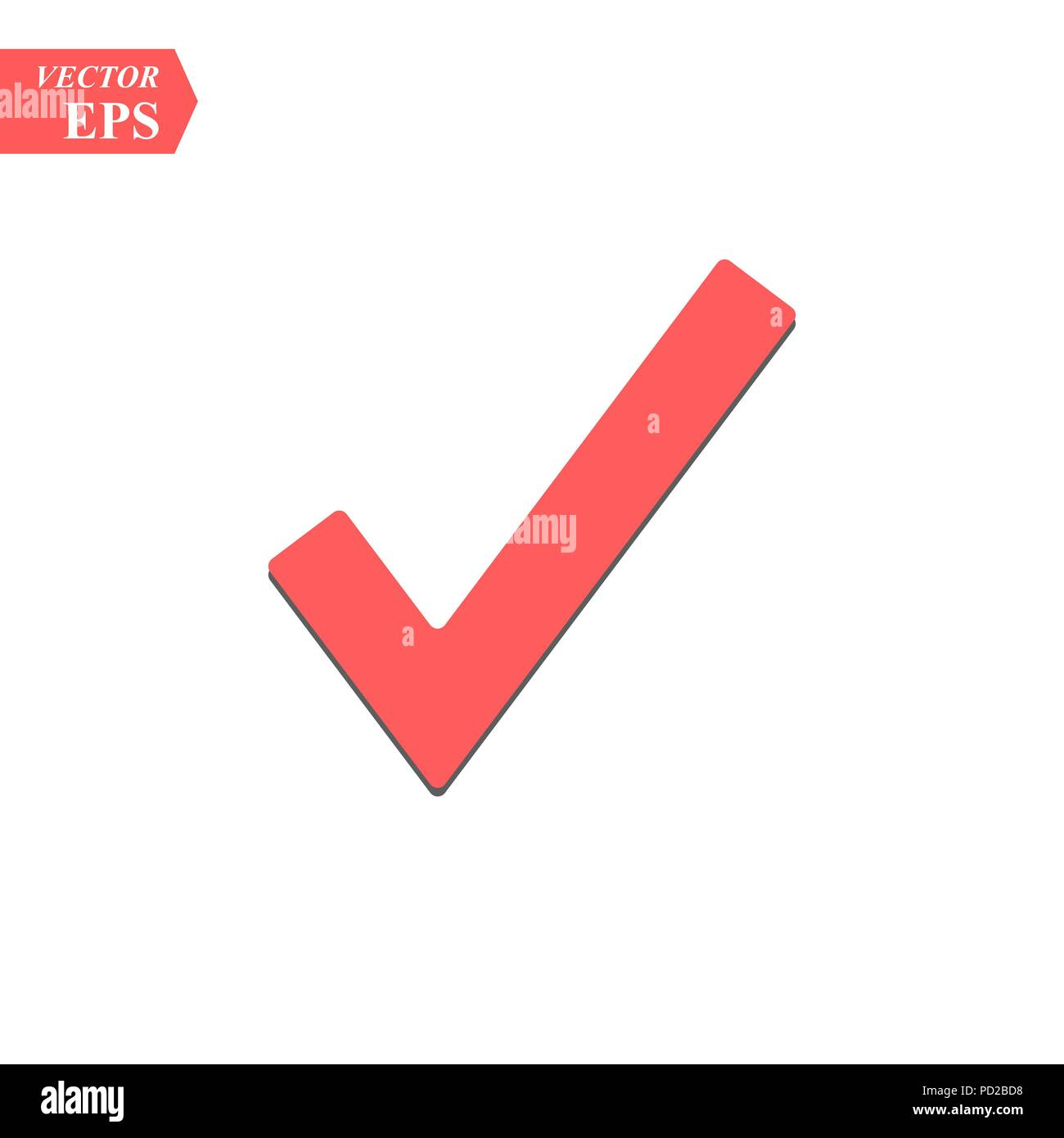 Red Check Mark Icon Tick Symbol In Red Color Vector Illustration