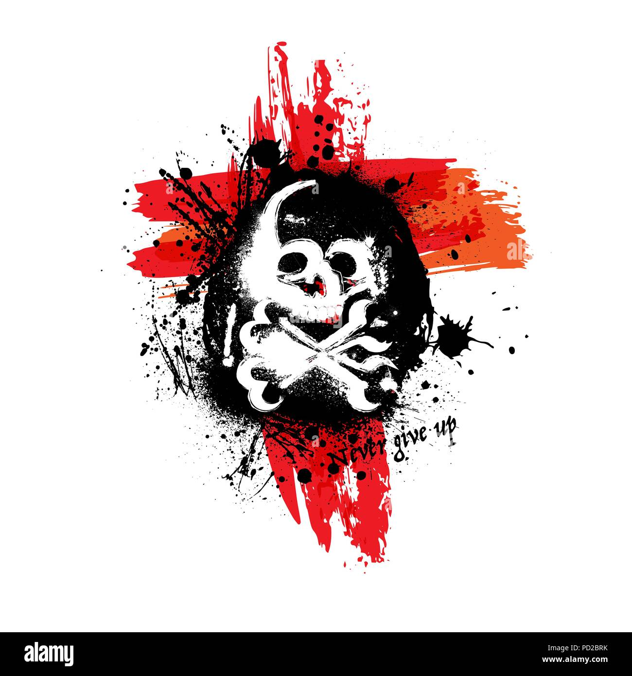 Black grunge silhouette of skull with bones and different grunge ink blots - Stock Vector