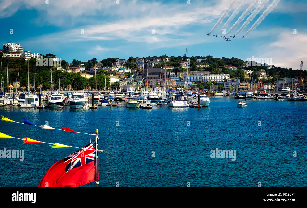 GB - DEVON: The Royal Air Force Aerobatic Team (Red Arrows) at the Torbay Airshow - Stock Image