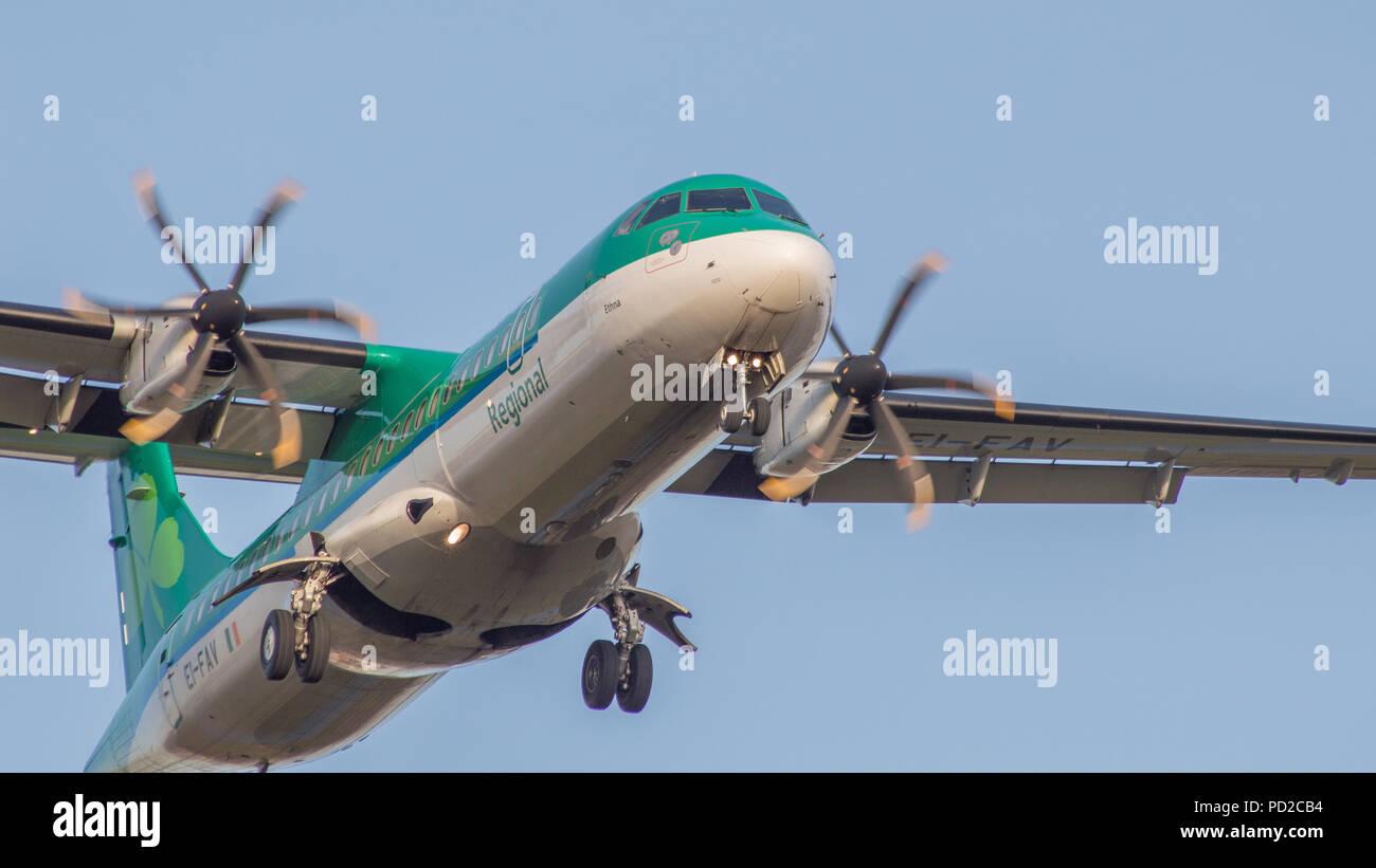 Aer Lingus regional service using its fleet of Turboprops, Glasgow, Scotland. - Stock Image