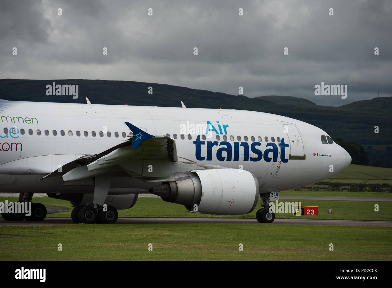Canadian low cost airline, Airtransat seen at Glasgow International Airport, Scotland Stock Photo