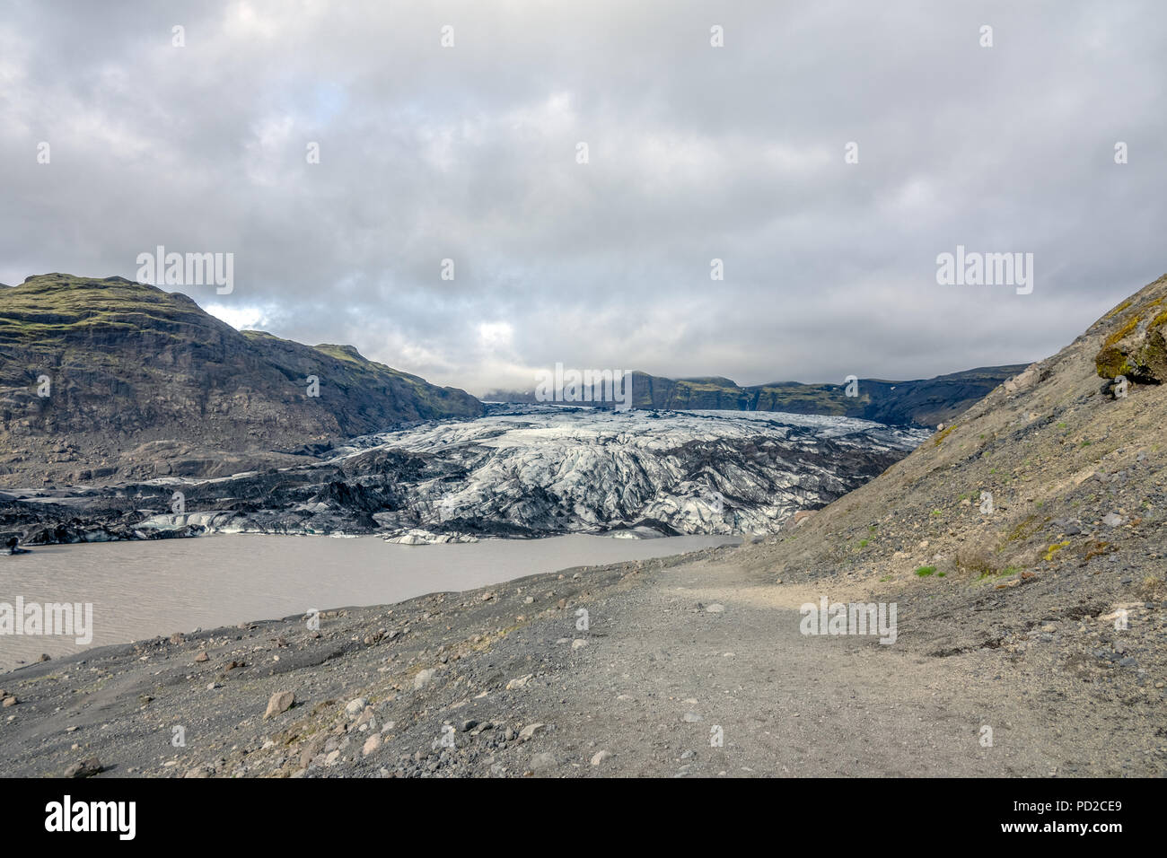 Solheimajokull is a glacier tounge of the Myrdalsjokull glacier in southern Iceland - Stock Image