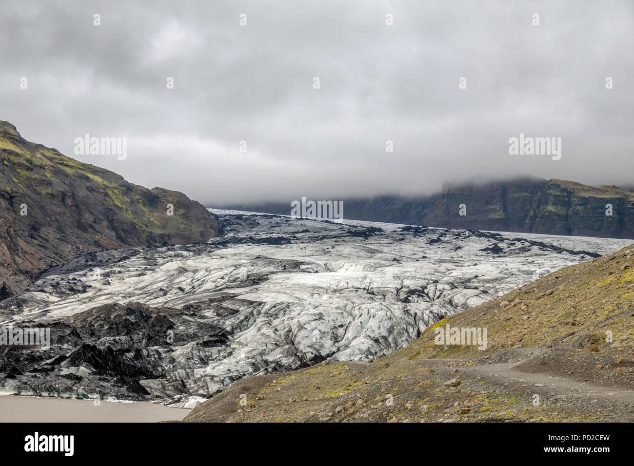 Solheimajokull is a glacier tounge of the Myrdalsjokull glacier in southern Iceland - Stock Image