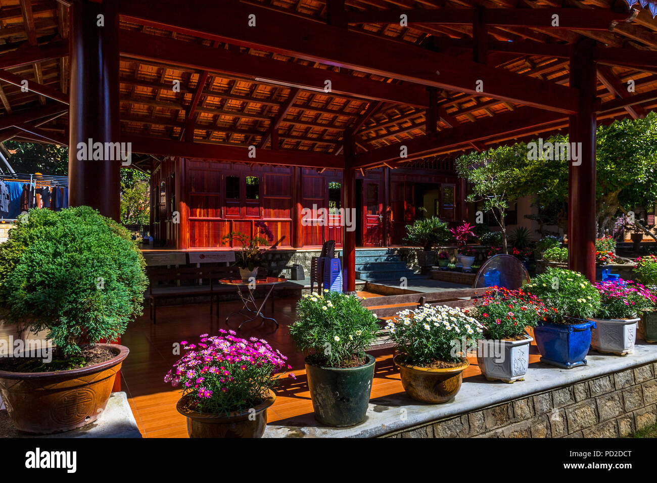 Buddhist temple Thien Vien Truc at the end of the Cap Treo cable car transportation. - Stock Image
