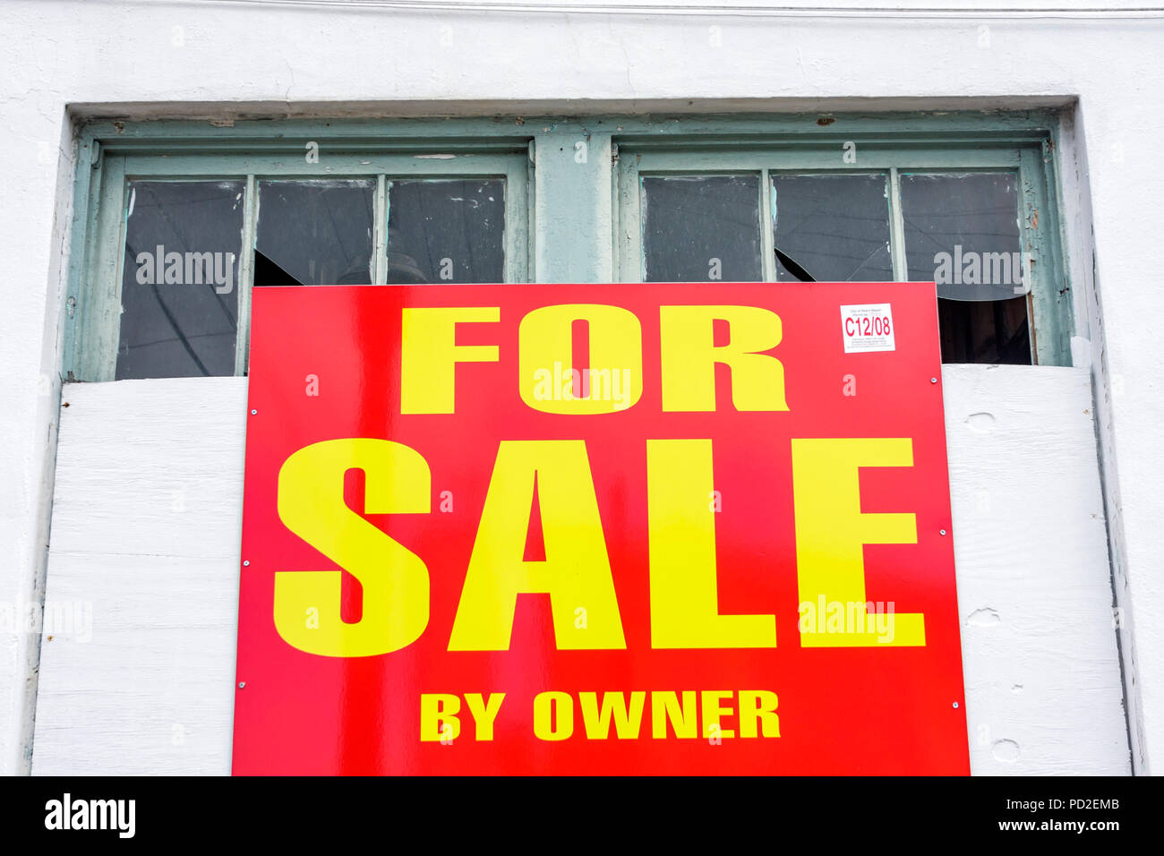 For Sale By Owner Florida >> Miami Beach Florida Building Windows Broken Glass Sign For