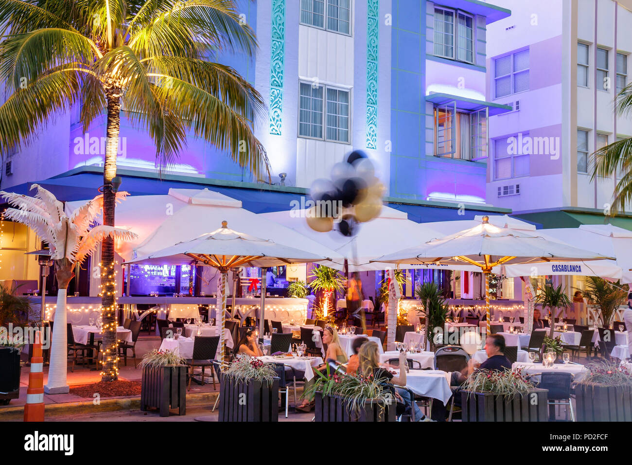 Miami Beach Florida Art Deco District Ocean Drive New Years Eve Night Nightlife Alfresco Dining Casablanca Hotel Palm Tree Li