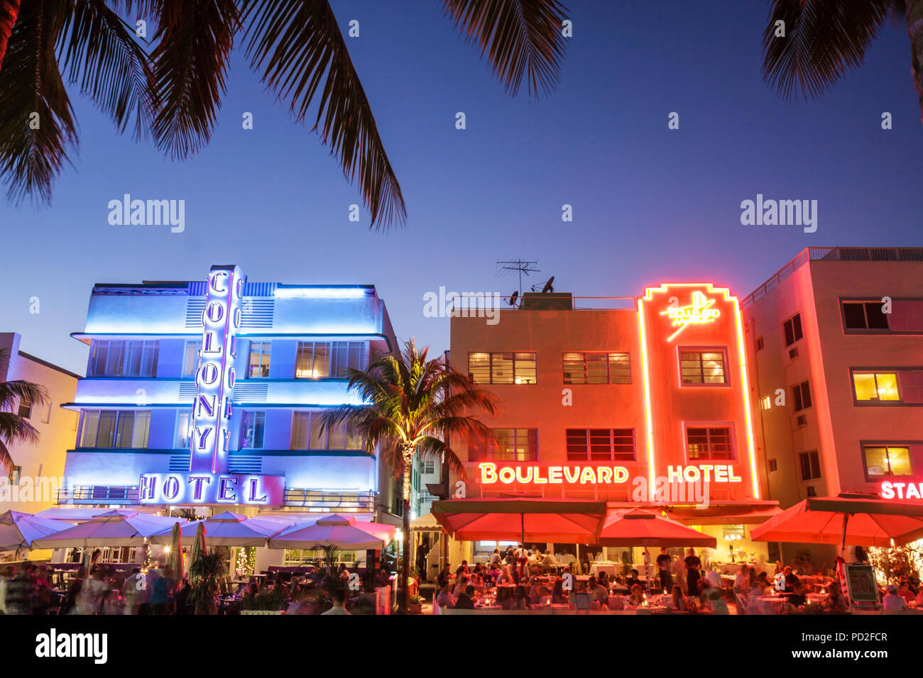 Miami Beach Florida Art Deco District Ocean Drive New Years Eve Night Nightlife Alfresco Dining Colony Hotel Boulevard Hotel