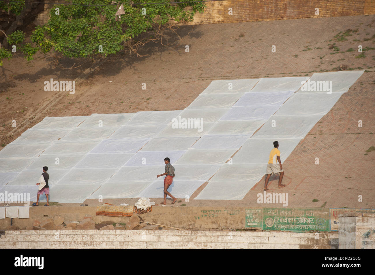 People dry hotel linens on the Varanasi Gange's ghats, Uttar Pradesh, India - Stock Image