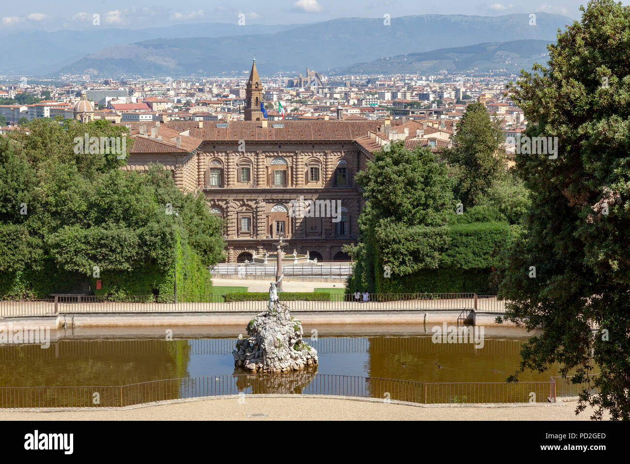 A photograph taken from the rear facade of the Pitti Palace above a draw level of the 'fountain of Neptune' platform. - Stock Image