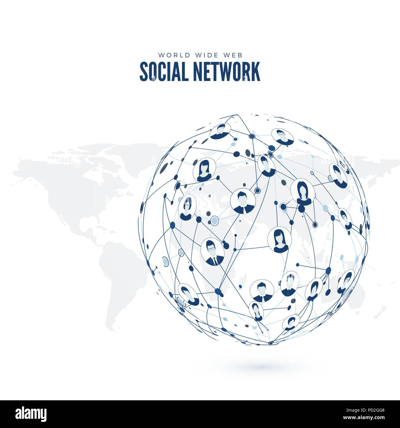 Social Network. World Wide Web. Vector illustration on Earth map - Stock Image