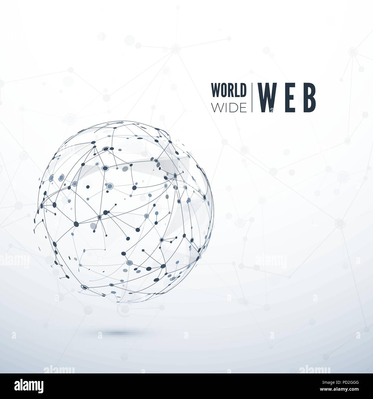 World Wide Web. Global data transfer concept. Vector illustration - Stock Image