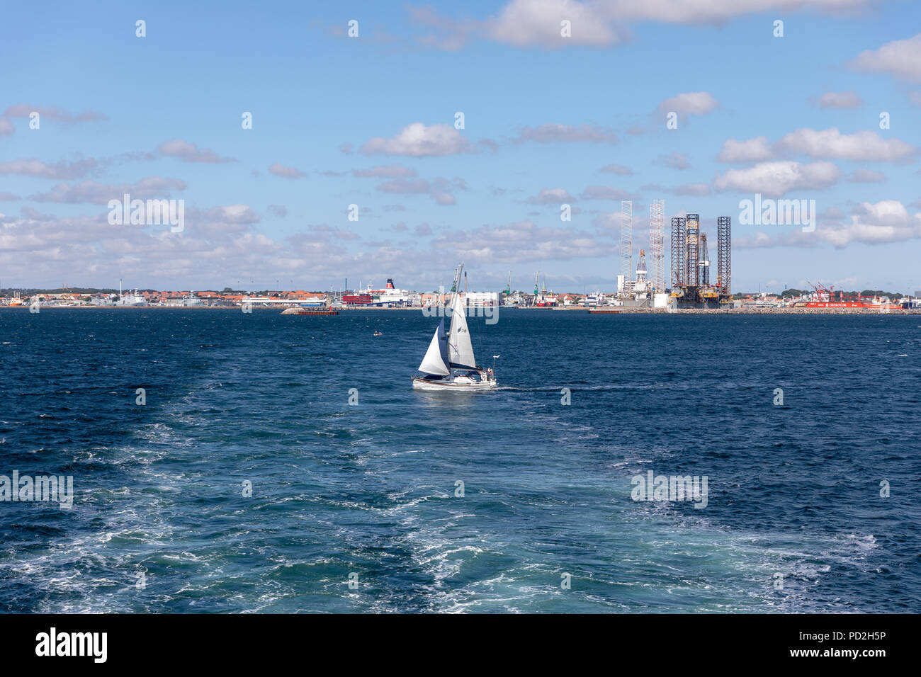 Sailing boat in Kattegat outside Frederikshavn in the north of Denmark - Stock Image