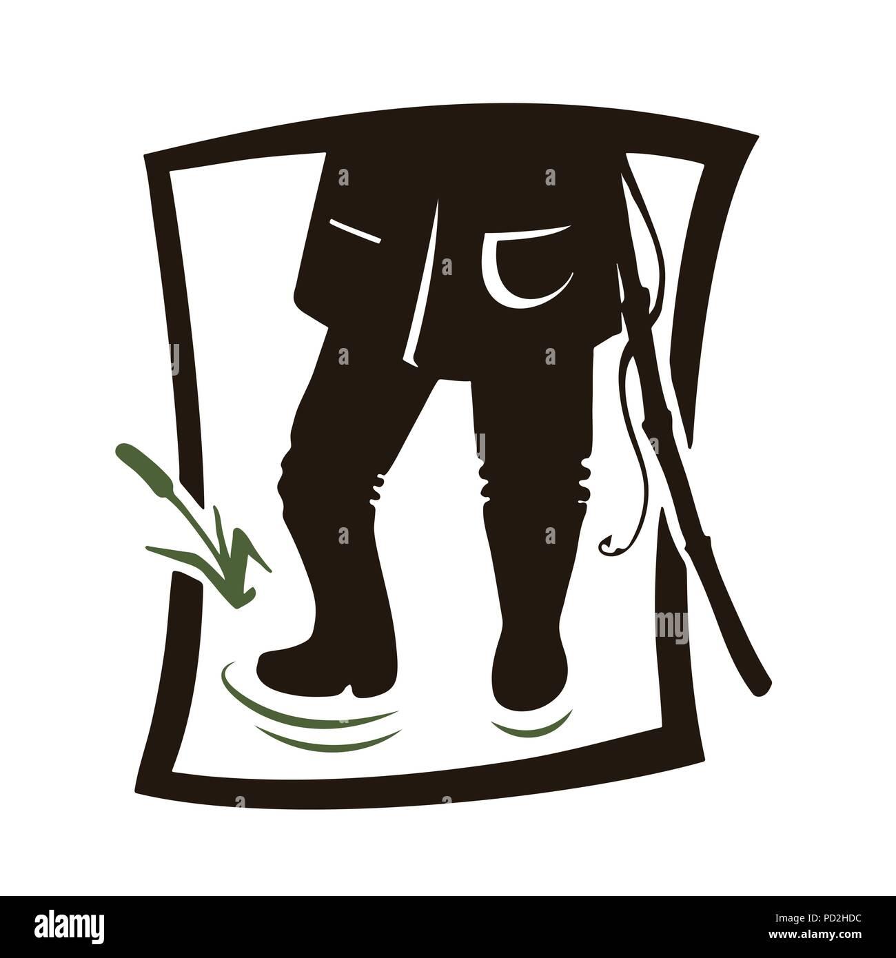 Fisher legs. Black icon on white background. Fishing vector illustration. - Stock Image