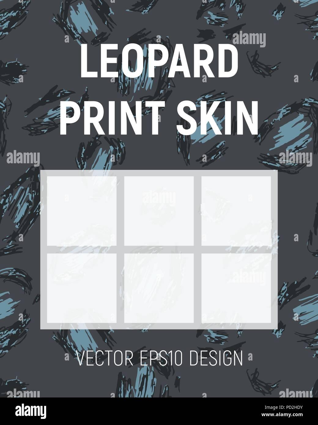 Blue leopard print skin. Brochure template. Vector illustration. - Stock Vector