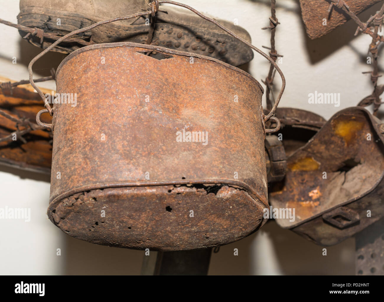Ziano di Fiemme, Monte Cauriol, Italy - september 23, 2017: Small Museum of the First World War: tin receptacle in which soldiers eat rations - Stock Image