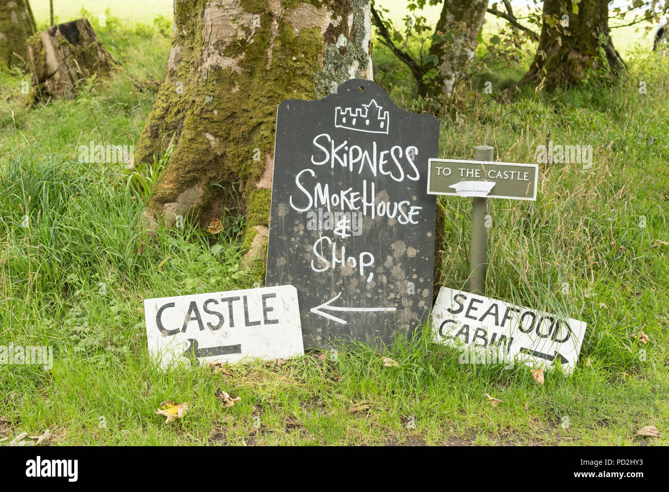 Skipness Castle, Skipness Smokehouse and Skipness Seafood Cabin signs, Skipness Estate, by Tarbert, Argyll, Scotland, UK - Stock Image