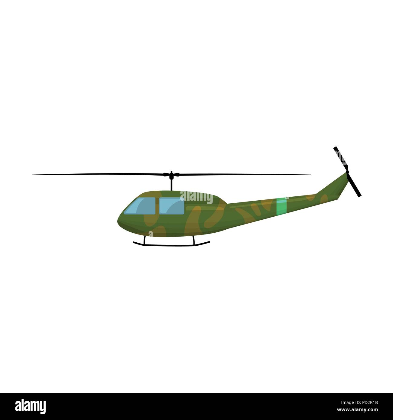 Military helicopter icon in cartoon style isolated on white
