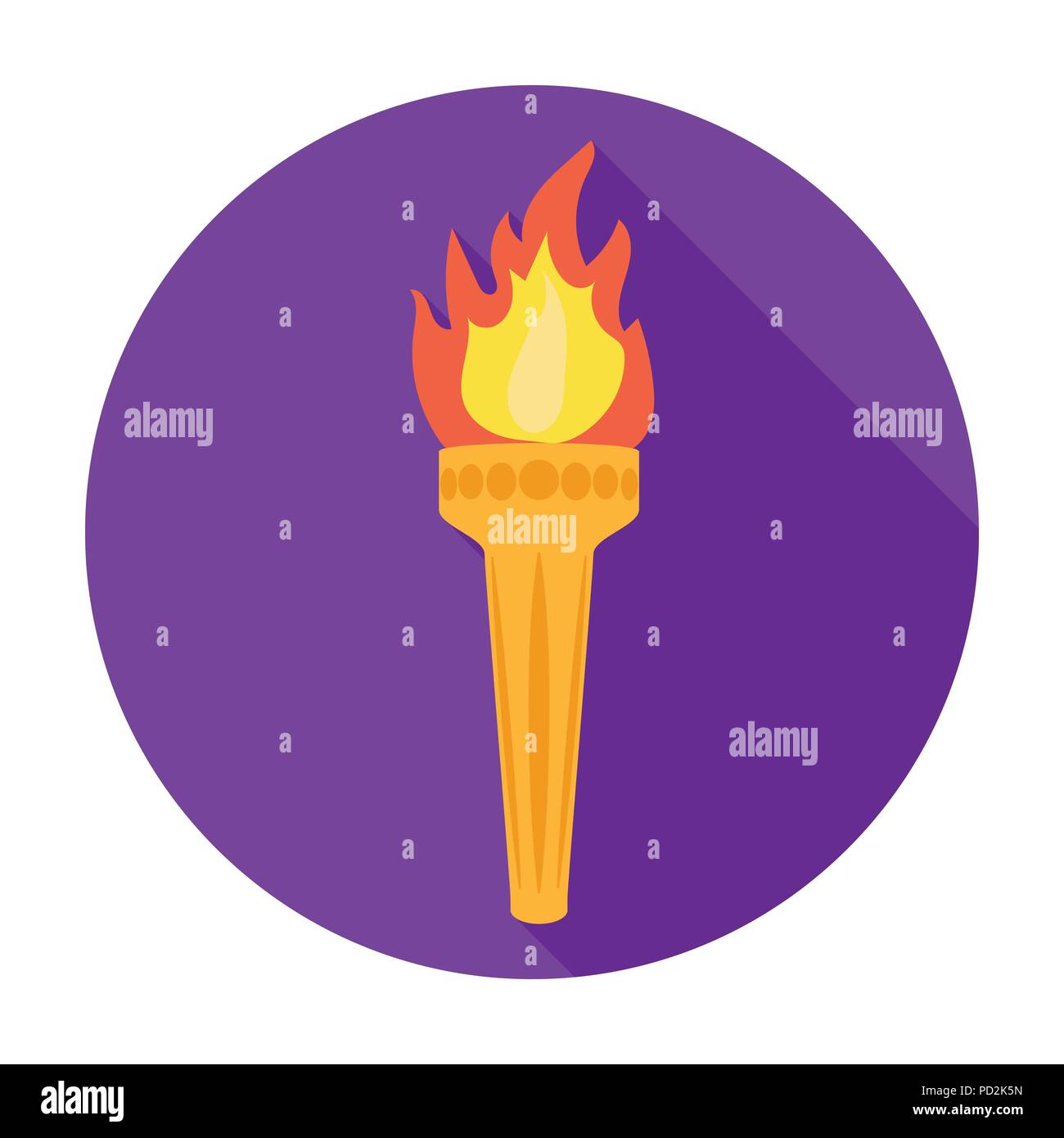 Olympic torch icon in flat style isolated on white background. Greece symbol vector illustration. - Stock Vector