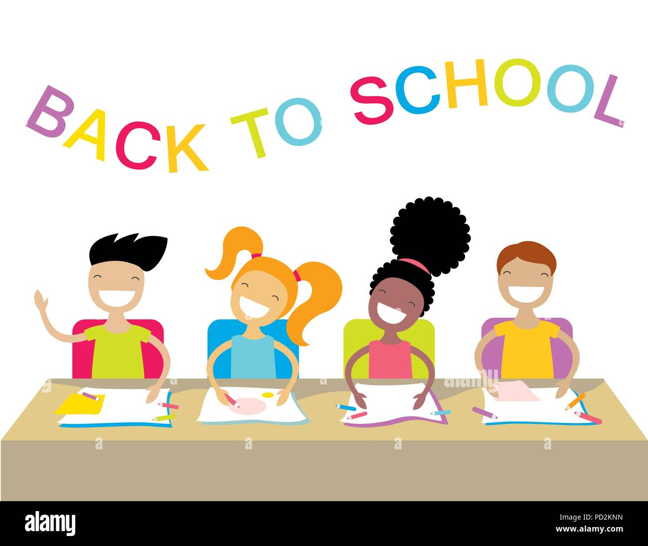 Happy school kids studying and raising their hands to answer. Stock Vector