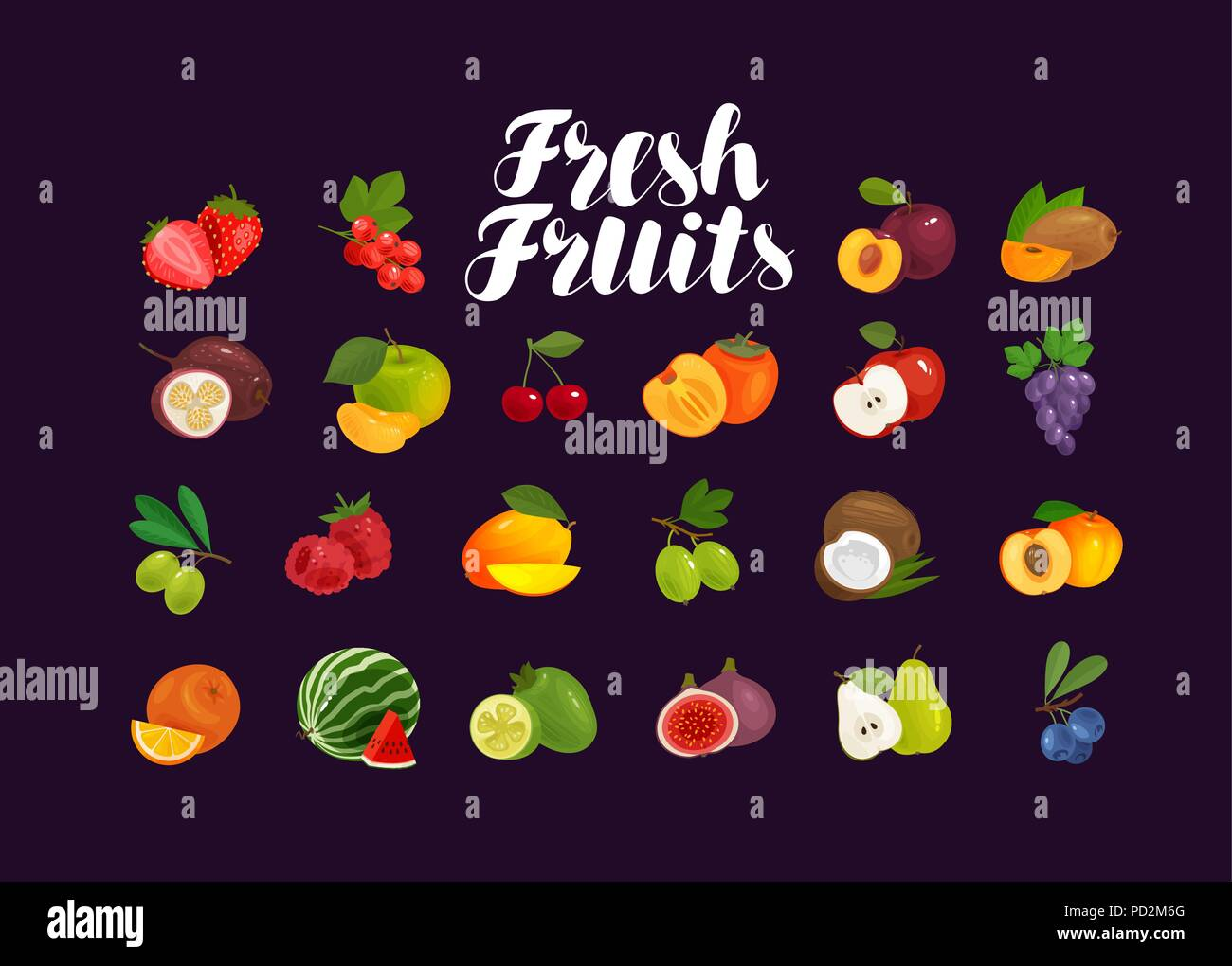 Fruits and berries, set of icons. Food, greengrocery, farm concept. Vector illustration - Stock Image