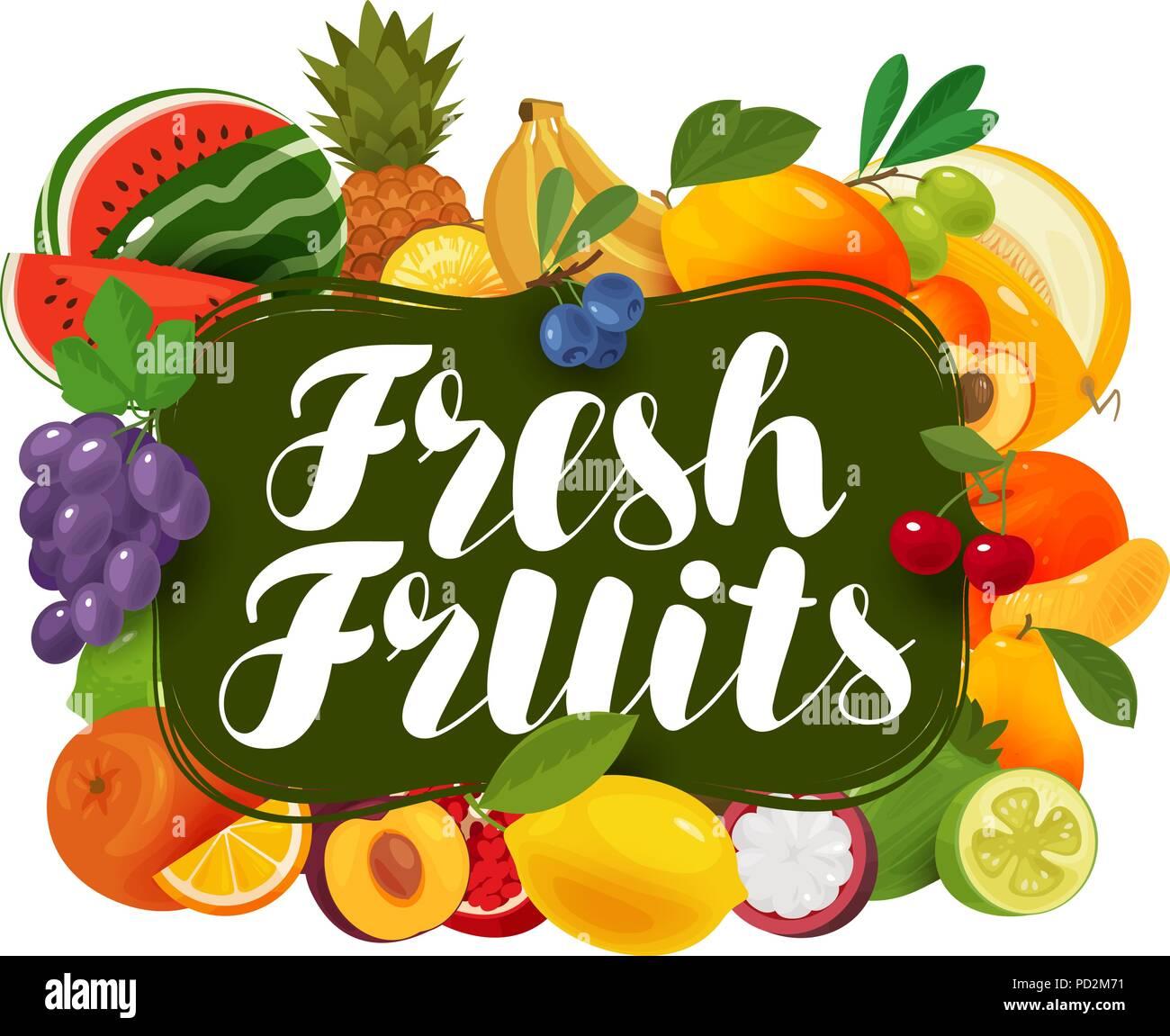 Fresh fruits. Natural food, greengrocery concept. Vector illustration - Stock Image