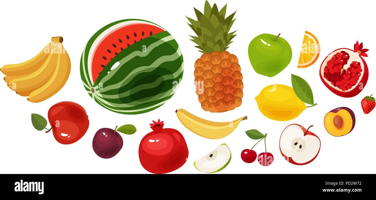 Fresh fruit, banner. Food, icon set. Cartoon vector illustration - Stock Vector